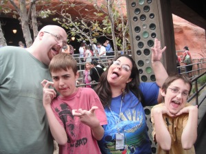 our first trip to Disney without getting any type of disability assistance- we made due in long lines by being silly